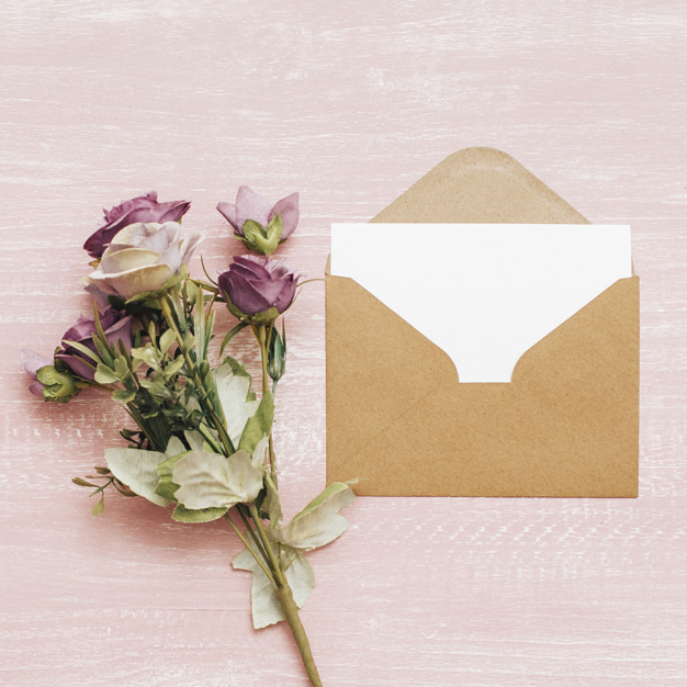 wedding bouquet with envelope