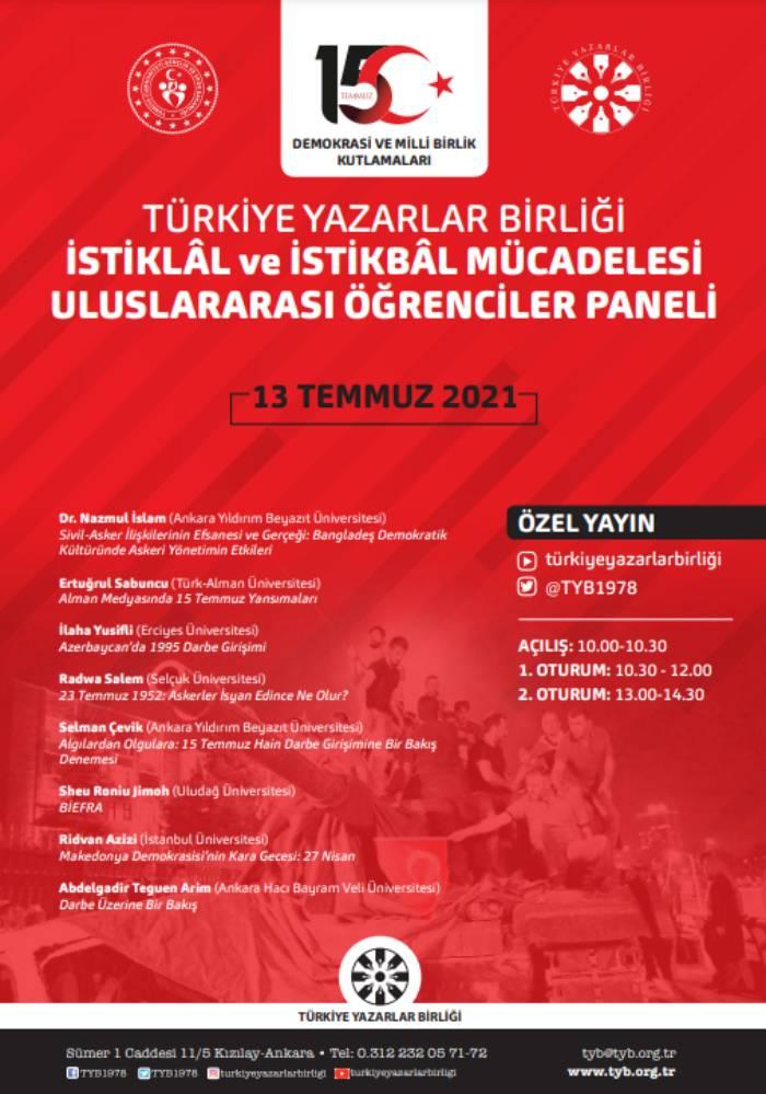 """İstiklâl ve İstikbâl Mücadelesi Uluslararası Öğrenciler Paneli"""" düzenledi 1."""